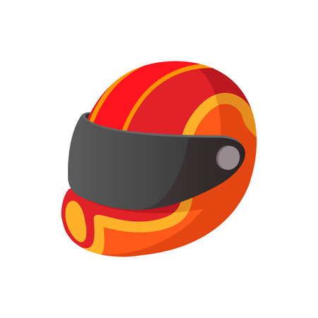 helmet: Racing helmet cartoon icon. Yellow and red helmet on a white background Illustration
