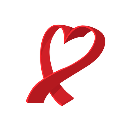 women breast: Breast cancer cartoon icon. Ribbon in the shape of the heart on a white Illustration