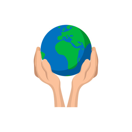 hands holding globe: Hands holding globe cartoon icon. Save earth concept symbol on a white background Illustration