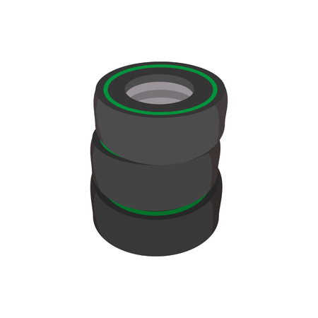 vulcanization: Car tires cartoon icon. Stacked black tires on a white background