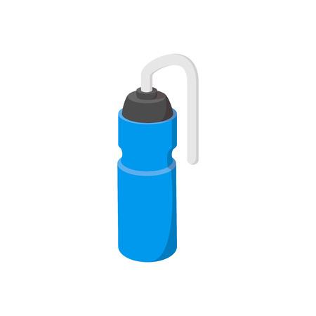 Sport water bottle cartoon icon. Blue plastic bottle on a white background