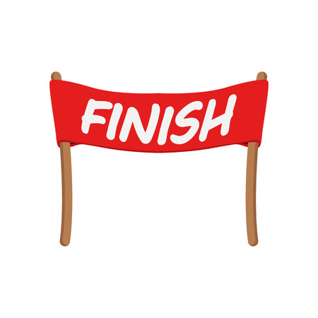 finishing: Red ribbon in finishing line cartoon icon. Racing symbol on a white background