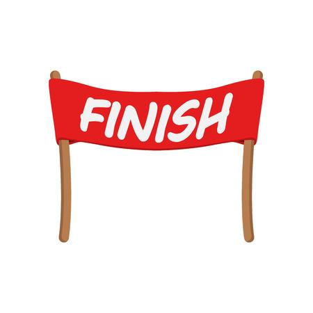 Rote Schleife in Zeile Comic-Ikone beenden. Racing-Symbol auf weißem Hintergrund Vektorgrafik