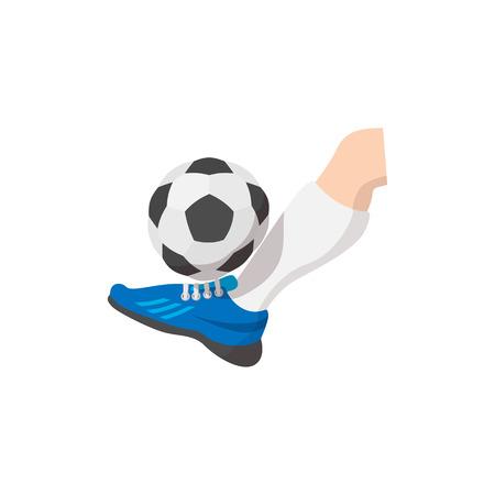futbol soccer: Leg kicks the ball cartoon icon isolated on a white background