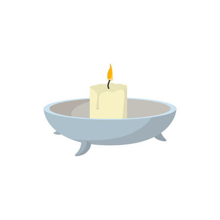 spa still life: Candle with candlestick cartoon icon on a white background