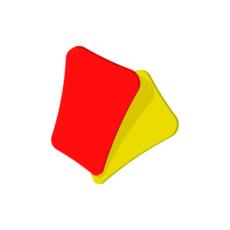 Red and yellow soccer card cartoon icon isolated on a white background Illustration