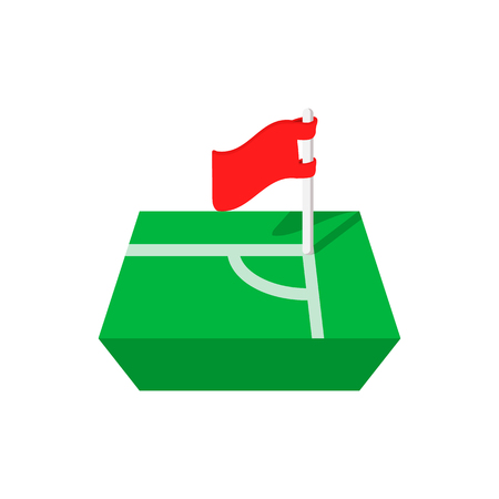 offside: Flag in the corner of the cartoon icon isolated on a white background