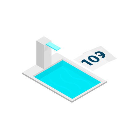 wading: Swimming pool with tower 3d isometric icon isolated on a white background Illustration
