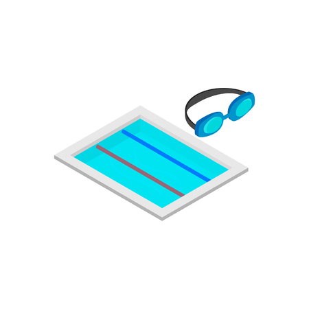 beachwear: Swimming track isometric 3d icon isolated on a white background