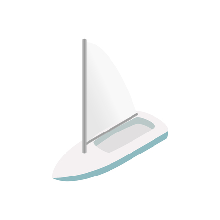 yachtsman: Sailing yacht isometric 3d icon isolated on a white background Illustration
