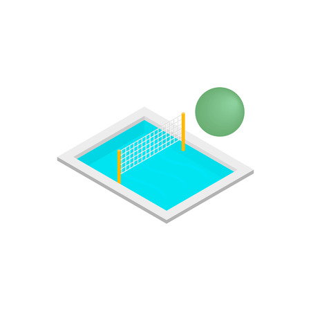 wade: Pool volleyball 3d isometric icon isolated on a white background Illustration