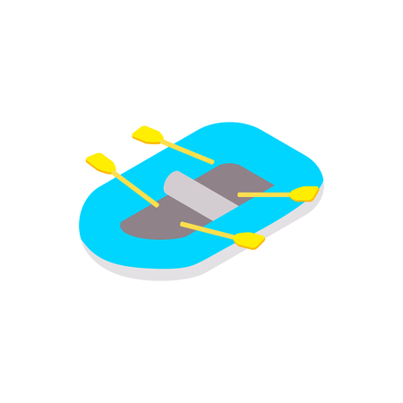 Rubber boat isometric 3d icon isolated on a white background Illustration
