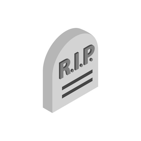 rip: Tombstone with RIP isometric 3d icon on a white background