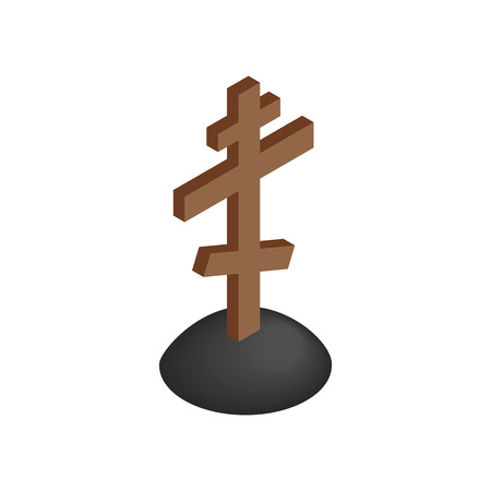 wooden cross: Wooden cross tombstone  isometric 3d icon on a white background