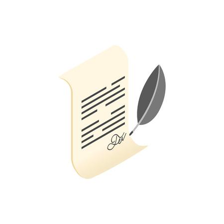 testament schreiben: Bl�ttern Sie und Federkiel isometrische 3D-Symbol auf wei�em Hintergrund Illustration