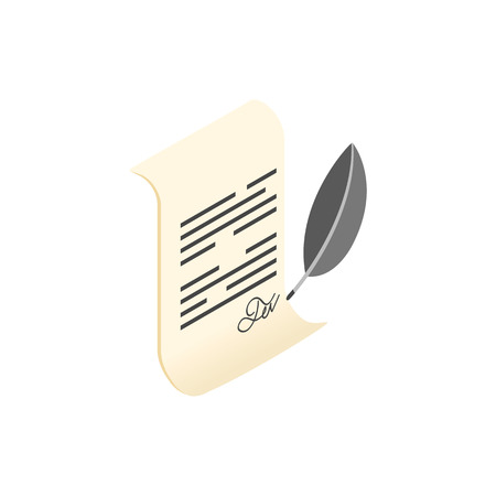 decease: Scroll and quill pen isometric 3d icon on a white background