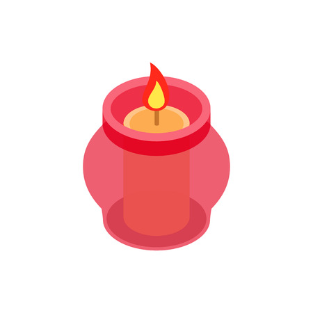 hope symbol of light: Candle in a candlestick isometric 3d icon on a white background