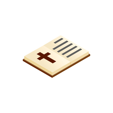 testament: Bible open isometric 3d icon on a white background Illustration