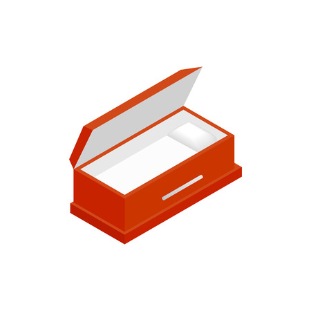 An open coffin isometric 3d icon on a white background