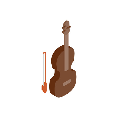 fiddle bow: Violin isometric 3d icon on a white background