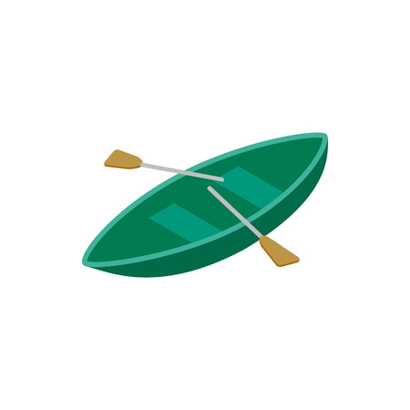barque: Boat with paddles isometric 3d icon on a white background