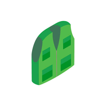 Green hunter vest isometric 3d icon on a white background Illustration