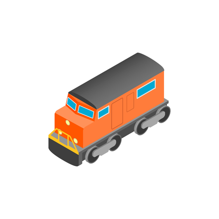 diesel train: Train locomotive transportation railway isometric 3d icon on a white background