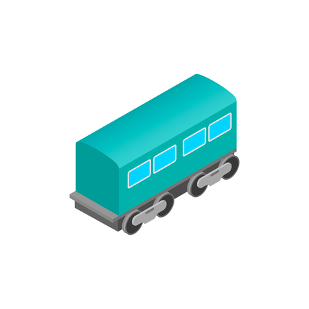 waggon: Passenger railway waggon isometric icon. Modern railroad car on a white background