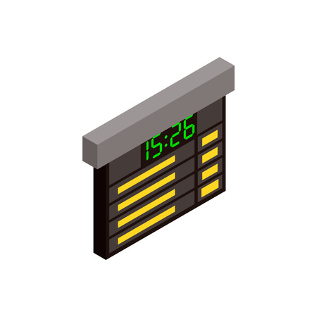 time table: Railway time table isometric 3d icon. Train schedule board on a white background