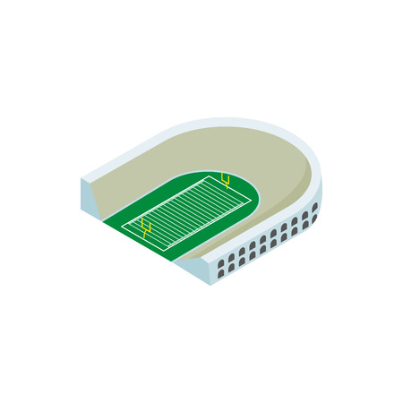 scrimmage: Oval rugby stadium isometric 3d icon. Single symbol on a white background Illustration