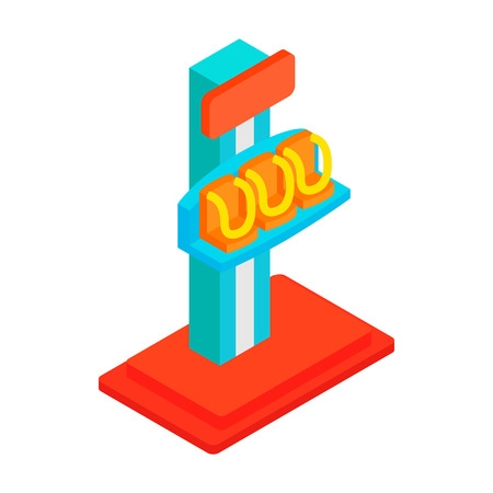 freefall: Free fall tower isometric 3d icon on a white background