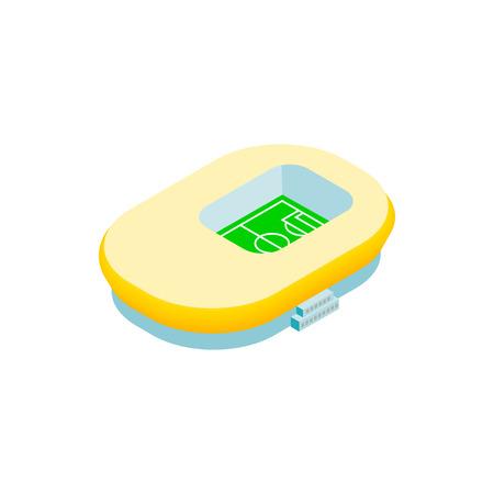 footbal: Footbal stadium isometric 3d icon. Oval stadium, square and yellow inside Illustration