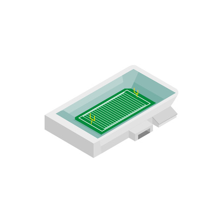 scrimmage: Square rugby stadium isometric 3d icon. Single symbol on a white background Illustration