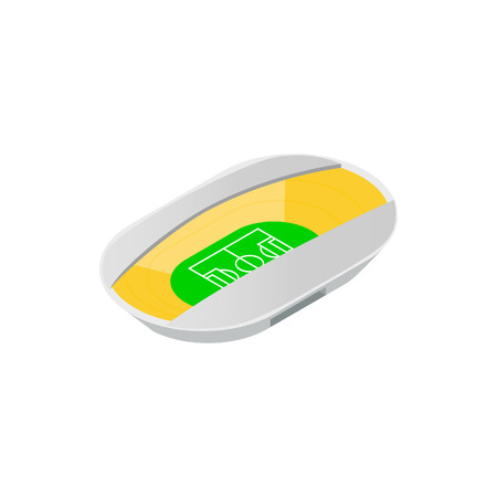 footbal: Semiclosed footbal stadium isometric icon. Oval stadium with wide canopi