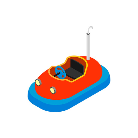 bumper: Bumper cars in amusement park isometric 3d icon on a white background