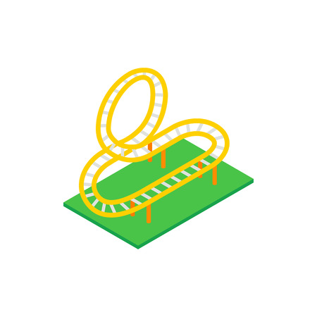 rollercoaster: Rollercoaster isometric 3d icon on a white background Illustration
