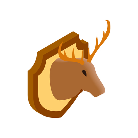 wildlife shooting: Deer head isometric 3d icon on a white background. Hunting trophy
