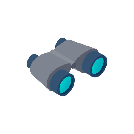 Black binoculars isometric 3d icon on a white background Illustration