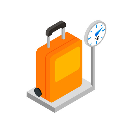 Luggage on scales 3d isometric icon isolated on a white background