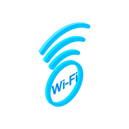 wi fi: Wi fi zone isometric 3d icon isolated on a white background Illustration