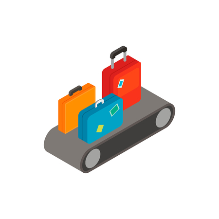 travel luggage: Luggage on a conveyor isometric 3d icon