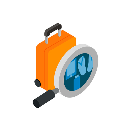 x ray machine: Monitoring and scanning luggage isometric 3d icon isolated on a white background Illustration