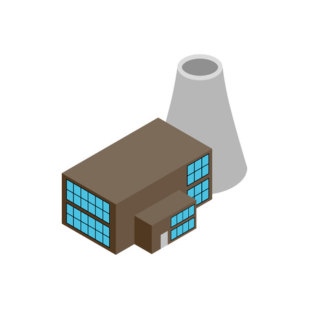 powerhouse: Nuclear power plant 3d isometric icon isolated on a white background Illustration