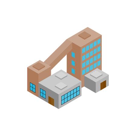 hazardous waste: Factory isometric 3d icon isolated on a white background Illustration