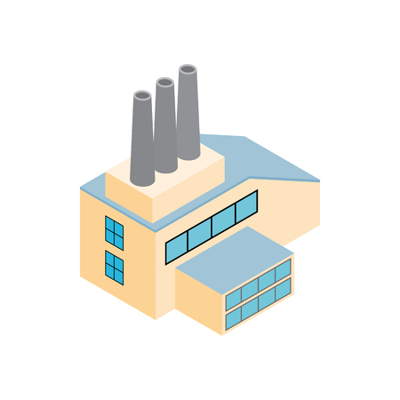 thermal power plant: Factory isometric 3d icon isolated on a white background Illustration