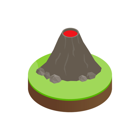 erupting: Volcano erupting isometric 3d icon on a white background