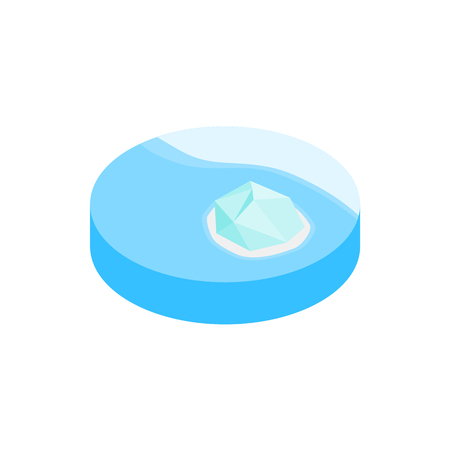 blue sea: Iceberg in antarctica isometric 3d icon on a white background