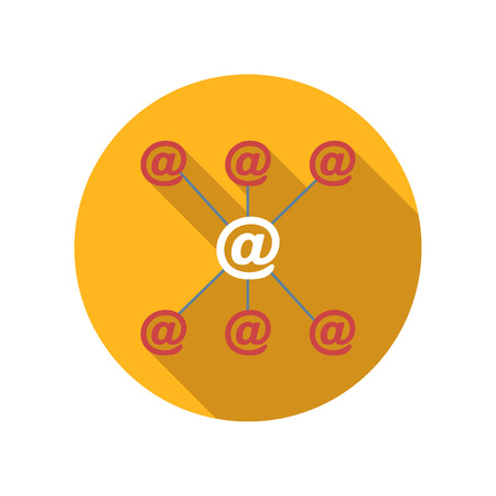 outgoing: Incoming and outgoing emails flat icon on a white background