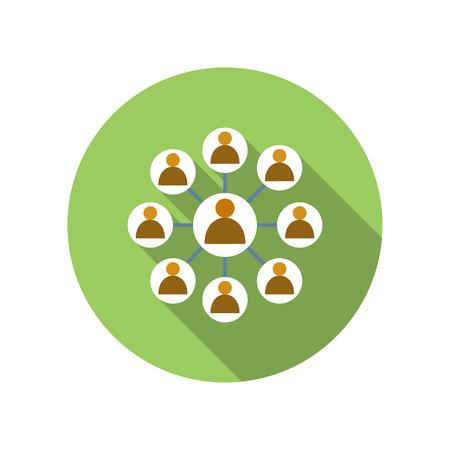 lider: red de negocios con el hombre l�der icono de plano sobre un fondo blanco Vectores