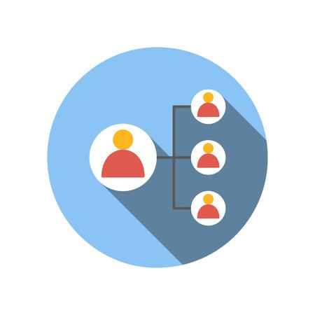 trabajo en equipo: conectar con el hombre de negocios líder icono de plano sobre un fondo blanco